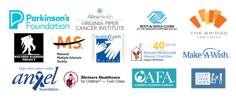 Logos of the various charities that Atlas plans to donate to.